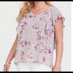 Torrid Gray Flutter Sleeve Purple Floral Blouse 0